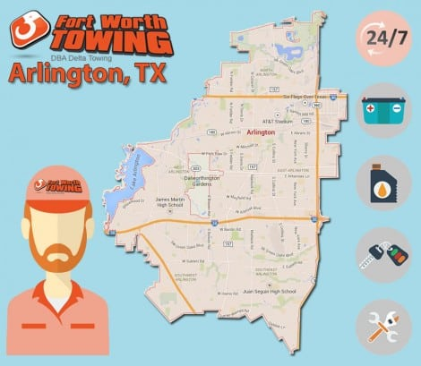 Delta Towing map of services in Arlington TX