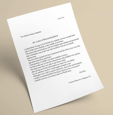 Carmen Donovan's letter of recommendation